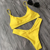 New Summer Sexy Women bikini Solid Color swimsuit Sexy yellow Swimwear