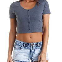 Ribbed Button-Up Crop Top by Charlotte Russe