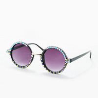 Spangled Embellished Round Sunglasses - Urban Outfitters