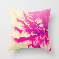 Pink flower photo photograph Throw Pillow by Mercedes
