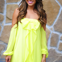 Happily Ever After Bow Dress: Neon Chartreuse | Hope's