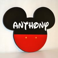 Fun Mouse Head Shape Personalized with Name - Red, White, and Black
