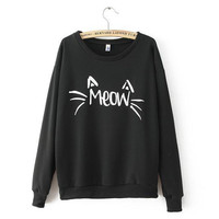 2 Colors Women's Long Sleeve MEOW Print Tops Blouse Sweatshirt Shirt
