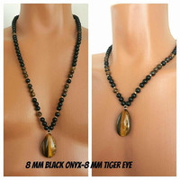 UNIQUE JEWELRY Black Onyx-Tiger Eye Necklace 8 mm,Custom Jewelry,Beaded Necklace,Men's Jewelry,Men's Beaded Necklaces,Unique Jewelry