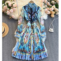 New summer fashion round neck long-sleeved lace dress with wooden ears