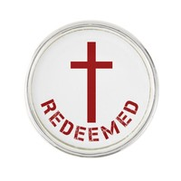 Christian Redeemed Red Cross and Text Design Lapel Pin