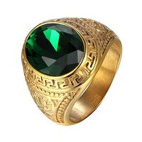 Mens Oval Green Stone Steel Ring Greek Design