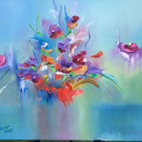 Rainbow Fantasy contemporary art original oil painting stretched wrapped canvas oil pallet knife painting wedding birthday any occasion gift