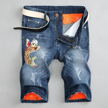 Ripped Holes Pants Slim Jeans [10366807683]