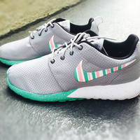 Custom Nike Roshe Run sneakers, South Beach teal/ Pink petals, Fashionable design, Wolf Grey womens nike rosherun