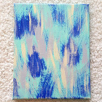 Abstract shades of blue acrylic canvas painting for trendy girls room, dorm room, or home decor