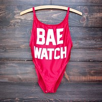 Final Sale - Bae Watch Vintage Cut One Piece Swim Suit - Red