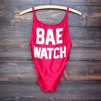 bae watch vintage cut one piece swim suit - red
