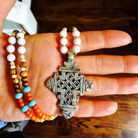 Ethiopian Coptic cross necklace, boho hippie jewelry