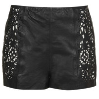 Cutwork Leather Shorts - New In This Week - New In - Topshop