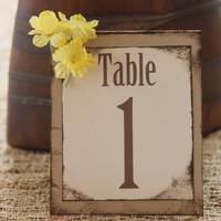 Handmade Table Numbers with Flowers, Rustic, Wedding, Special Event, Reception, Tented