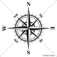 Compass Rose with Times Font Vinyl Wall Decal, 40 colors to pick from home decor sticker K552