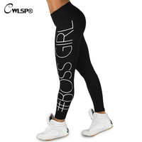 CWLSP Skinny High Waist Leggings Women Boss Girl leggins Sportswear Stretchable pants pantalon moda fitness feminino QA1649