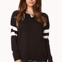 FOREVER 21 Game Time Striped Sweater Black/Ivory