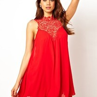 TFNC Swing Dress With Lace High Neck at asos.com