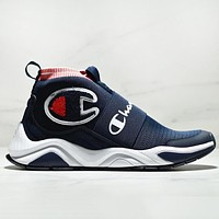 Champion Fashion New Logo And Letter Print Sports Leisure Women Men Socks Shoes Navy Blue