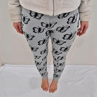 Knitted Nordic Butterfly Print Warm Leggings from polydoros