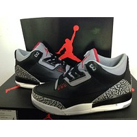 "Air Jordan 3 ""Infrared 23"" black grey Basketball Shoes 36-47"