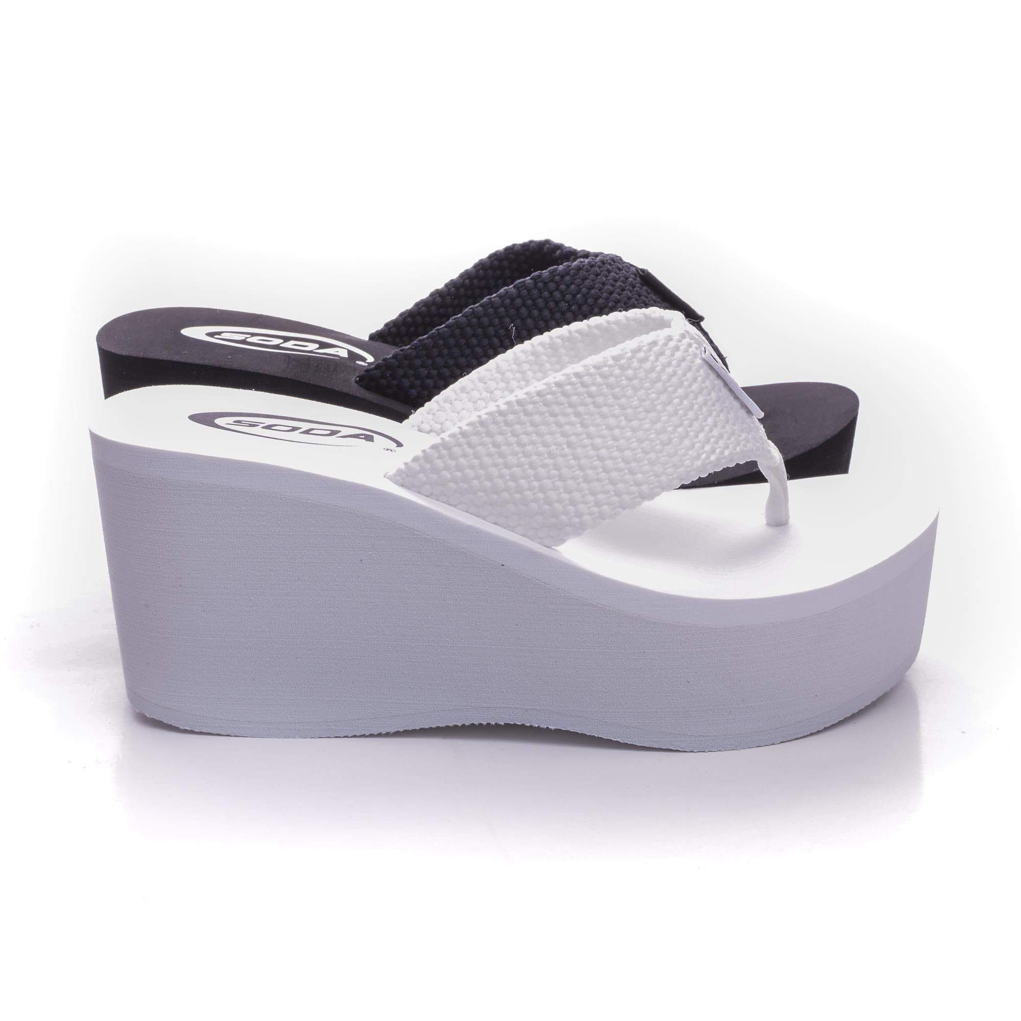 Image of Oxley By Bamboo, Thick T-Thong Slip On Platform High Wedge Sandals
