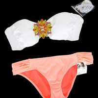 New Victoria's Secret Jewel Bandeau White Orange Bikini Swimsuit S