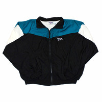 Vintage 90s Black/White/Aqua Reebok Windbreaker Jacket Mens Size Large