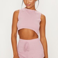 Baby Pink Ribbed Frill Edge Short PJ Set