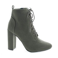 Eminent By Delicious, Almond Toe Lace Up High Heel Ankle Boots
