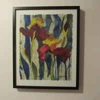 Original Abstract Floral Iris Painting  Watercolor Batik on Japanese Rice Paper Batik Painting Signed by Artist