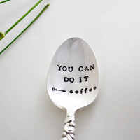 hand stamped coffee spoon. Vintage silver plated by SamirahCollections - coffee lover gift