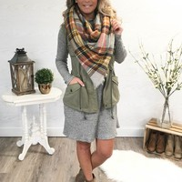The Perfect Blanket Scarf - Mustard/Grey