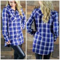 SZ SMALL Best You've Ever Plaid Navy Top