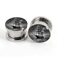 Screw Pairs Pirate Flesh Tunnels,Ear Plugs Gauges 2g 0g or 00g