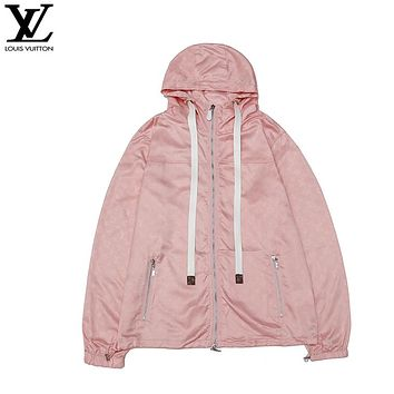 LV Louis Vuitton New fashion monogram print couple hooded long sleeve windbreaker Pink