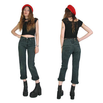 Vintage 90s High Waisted  Black Green Jeans - Mom Jeans - High Waisted Jeans - Size 27 Waist - Stone Wash Denim - Grunge - Boyfriend Jeans