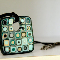 Retro Necklace in green, Square Pendant with black satin cording...