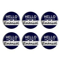 Emanuel Hello My Name Is Plastic Resin Button Set of 6