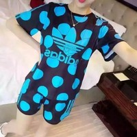 """Adidas"" Women Sport Casual Multicolor Letter Polka Dots Print Short Sleeve Shorts Set Two-Piece Sportswear"
