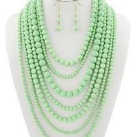 Long mint green beads Necklace set