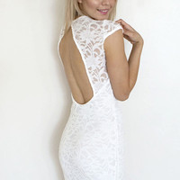 Orchid Flower Lace Dress - Off White