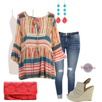 (pre-order) Set 455: Colorful Boho Striped Top (includes top, tank & earrings)