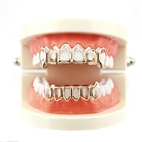 Entertainment Dental Braces Hip Hop Solid Color Teeth Top Or Bottom Tooth Grill Set Electroplate Hollow Vampire Braces Grill