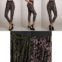 Women's Printed Cropped Jersey Knit Drape Casual Harem Pencil Pants Banded Waist