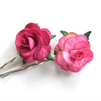 Pink and Fuchsia Mulberry Paper Rose Big Flower Hair Grip Bobby Pins