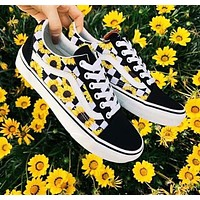 Vans Fashion New Floral Print Women Men Leisure Shoes Black