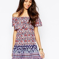 Fallen Star Off Shoulder Swing Dress In Retro Border Print